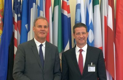 OECD Tourism Committee Chairman Alain Dupeyras and Greek General Secretary for Tourism Policy and Development George Tziallas.