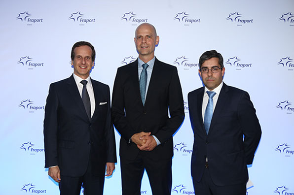 Fernando Pires Gonçalves, CEO of the regional subsidiary of Siemens Postal, Parcel & Airport Logistics (SPPAL) in Portugal; Alexander Zinell, CEO of Fraport Greece; and Ricardo Rocha, Head of Sales of SPPAL in Portugal (from left).