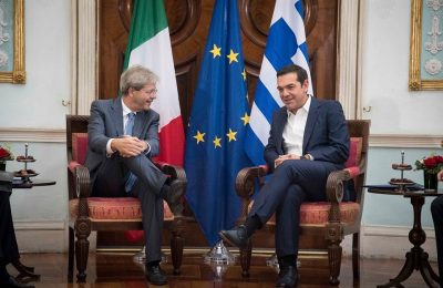 Italian PM Paolo Gentiloni and Greek PM Alexis Tsipras, Photo Source: @ Alexis Tsipras