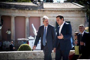 Italian PM Paolo Gentiloni and Greek PM Alexis Tsipras, Photo Source: @ Alexis Tsipras