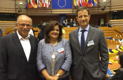 European Parliament Vice President Dimitris Papadimoulis; President of the Standing Committee of Production and Trade, Hellenic Parliament Hara Kafantari; Secretary General for Tourism Policy and Development Georgios Tziallas.