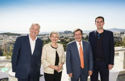 Hilton Athens General Manager Bart van de Winkel, UNESCO Director General Irina Bokova, Athens Mayor Giorgos Kaminis and Google Arts & Culture Lab Leader Laurent Gaveau at the Hilton Galaxy Bar overlooking the Acropolis.