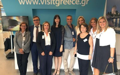 Greek Tourism Minister Elena Kountoura at the GNTO Pavilion at the 82nd TIF. She is accompanied by Tourism Ministry Secretary General, Evridiki Kourneta; GNTO Director of Offices Abroad Ioulia Kouremenou, GNTO Secretary General Kostantinos Tsegas, GNTO General Director of Promotion Athina Spakiou, GNTO President Charalambos Karimalis; GNTO Vice President Angeliki Chondromatidou, GNTO Director of Market Research and Advertising Pinelopi Nobilaki and GNTO PR Manager Eleni Gerolymatou.