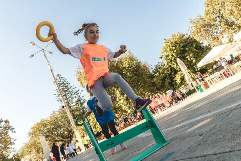 Kids' Athletics in Navarino Challenge, at Pylos square supported by Kinder+SPORT (photo by Mike Tsolis).
