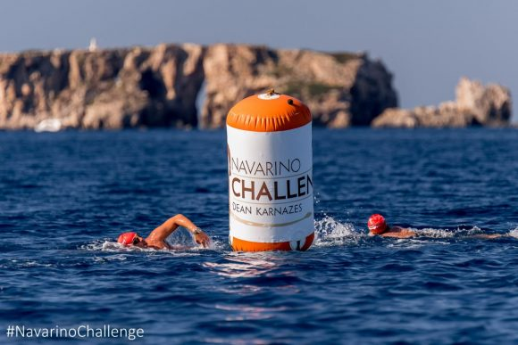 The 1 mile swimming route of Navarino Challenge at the Navarino Bay, at Pylos port (photo by Elias Lefas).