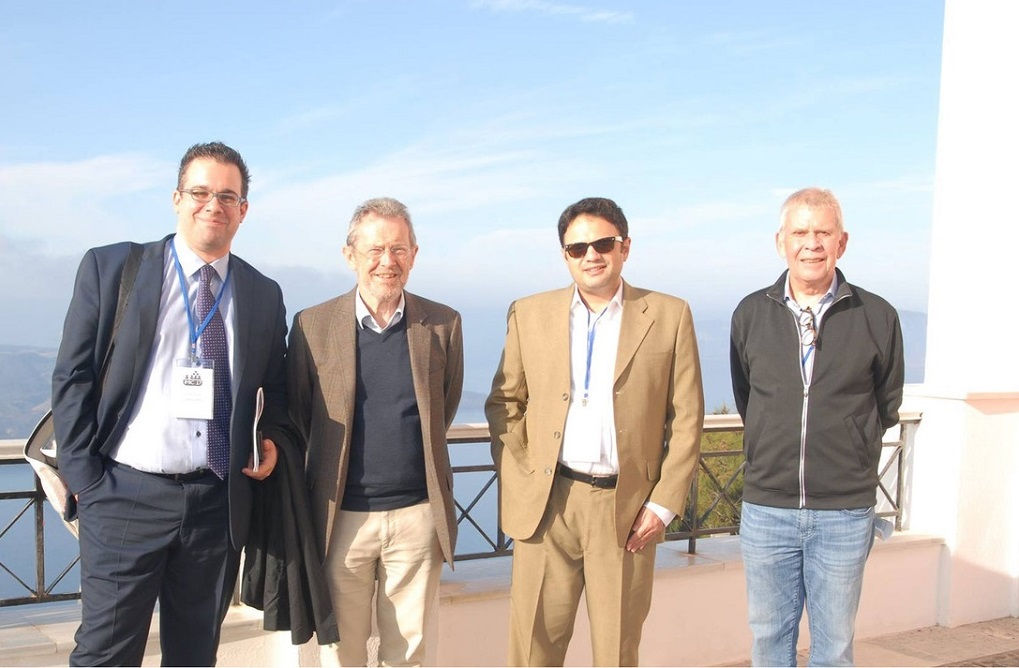 Aqua Vista Hotels assistant director of sales Alexandros Dardoufas; David Airey, emeritus professor, University of Surrey; Andreas Papatheodorou, professor, University of the Aegean and chairman of the IMIC 2017 Conference; Egon Smeral, professor, Modul University, Vienna.