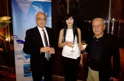 Stavros Daliakas, director of Ellinair; an Ellinair representative; Dinos Frantzeskakis, the managing director of Discover The World Greece & Cyprus.