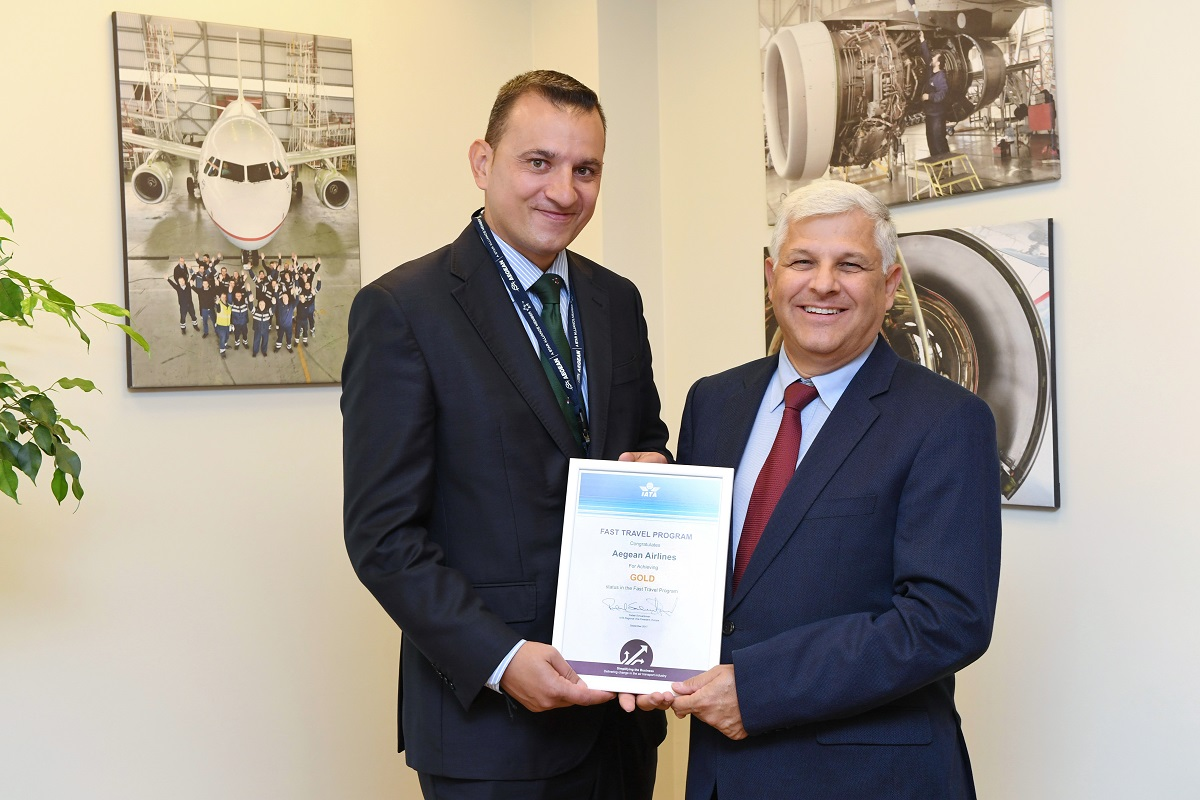 AEGEAN – Olympic Air ground operations director Panos Nikolaidis and IATA airport, passenger, cargo and security Europe director Sergio Fernandez.