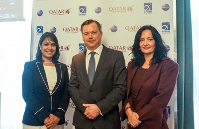 (From left) Qatar Airways' Country Manager for Greece and Cyprus, Theresa Cissell and Senior Vice President for Europe, Jonathan Harding, with Ioanna Papadopoulou, director of communications and marketing of Athens International Airport.
