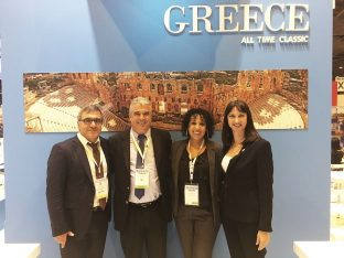 IFTM Top Resa 2017: (from right) Greek Tourism Minister Elena Kountoura (right), Selectour Events Communication Manager Sophia Belkhir, Yalos Tours Owner Christos Panaretou and GNTO Secretary General Konstantinos Tsegas.