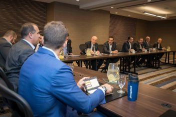 Greek Prime Minister Alexis Tsipras during his meeting with Greek and American entrepreneurs in Chicago. Photo Source: @Alexis Tsipras
