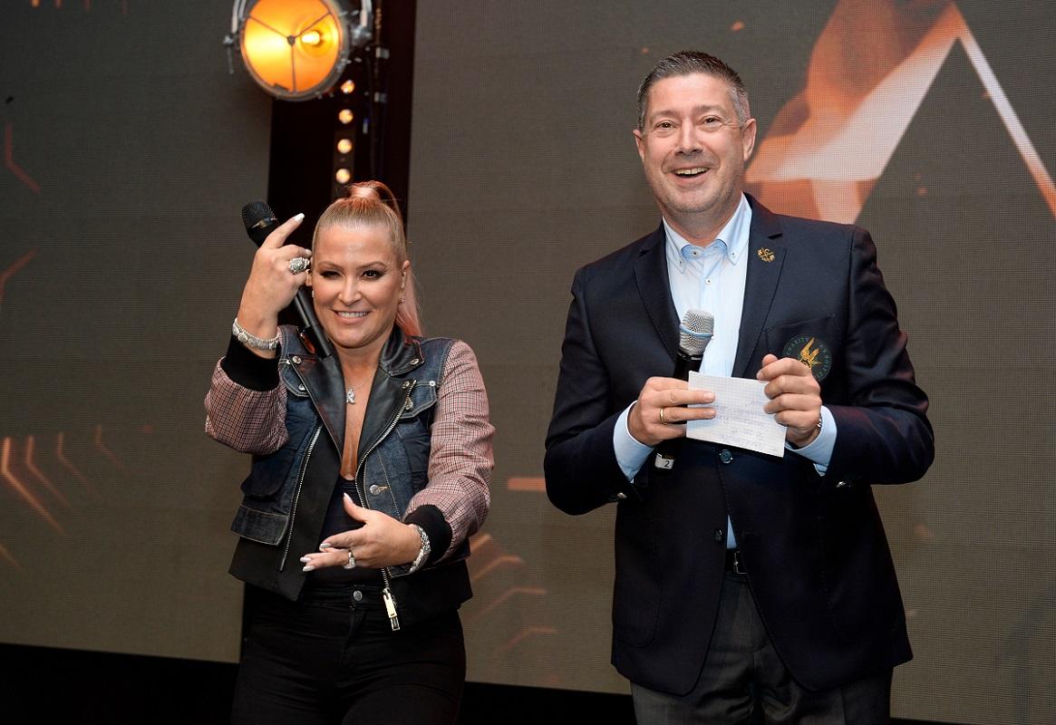 Singer Anastasia and TV Host Joachim LlAmbi. Photo: Agentur Schneider-Press/Frank Rollitz