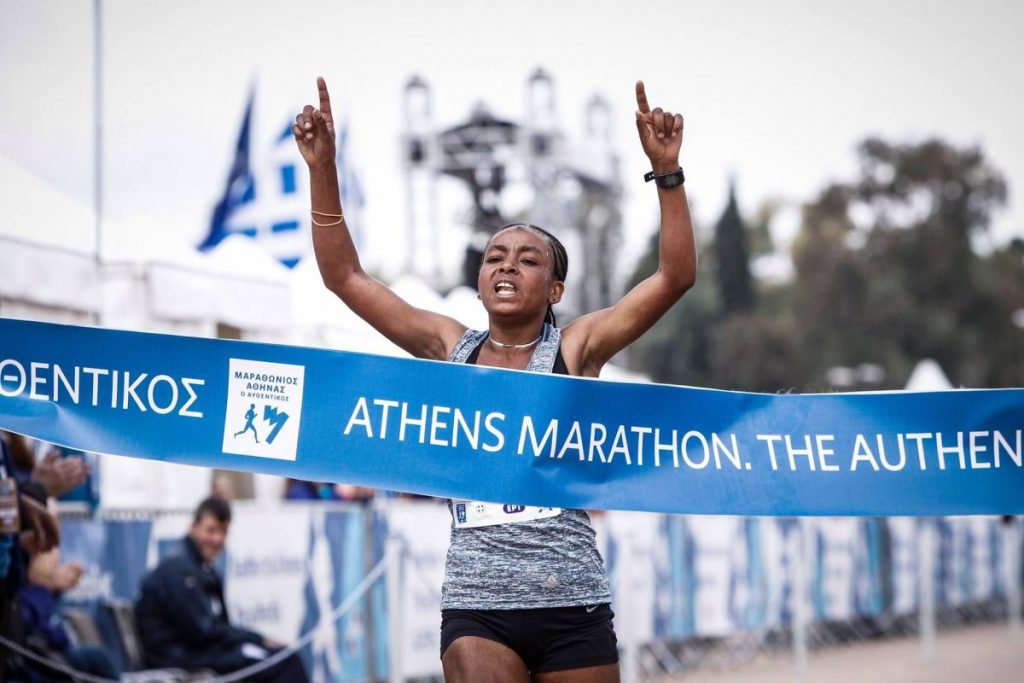 "Winner of the 35th ""Athens Marathon. The Authentic"" (women's category): Bedaru Hirpa Badane from Ethiopia. Photo source: SEGAS"