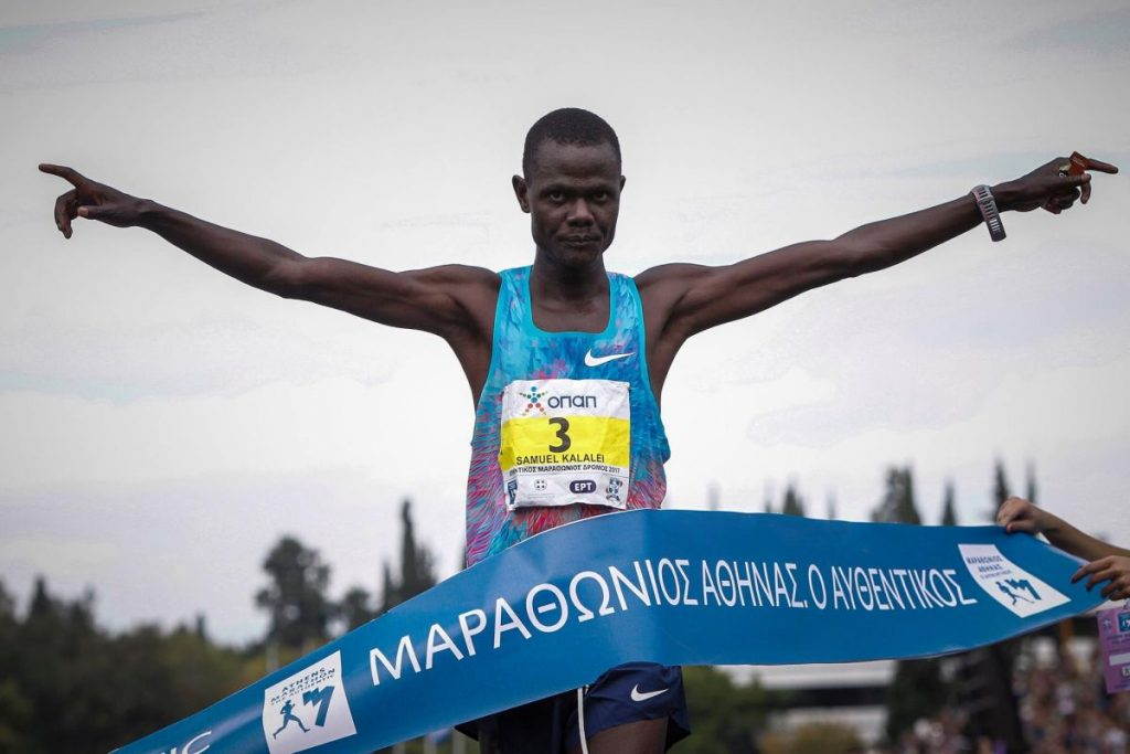 "Winner of the 35th ""Athens Marathon. The Authentic"" (mens category): Samuel Kalalei from Kenya."