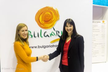 Greek Tourism Minister Elena Kountoura with her counterpart from Bulgaria Nikolina Angelkova.