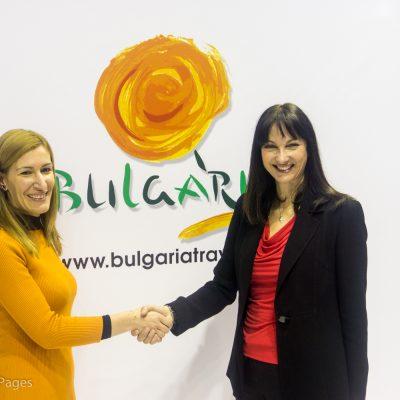 Greek Tourism Minister Elena Kountoura with her counterpart from Bulgaria Nikolina Angelkova.