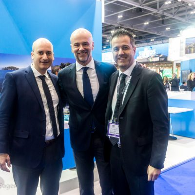 Giorgos Amvrazis, SETE General Manager; Yiannis Retsos, SETE President and Grigoris Tasios, Halkidiki Hotels Association President.
