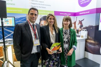 Sotiris Milonas, Travelife's destination representative for Greece; Agapi Sbokou, managing director of Sbokos Hotel Group; and Nikki White, Travelife's director of Destinations and Sustainability.