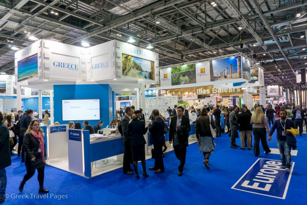 Greek stand at WTM London 2017.