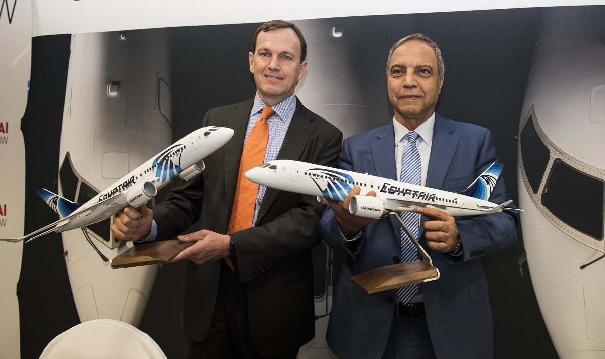 Bombardier Commercial Aircraft president Fred Cromer and Egyptair Holding Company chairman and CEO Safwat Musallam.