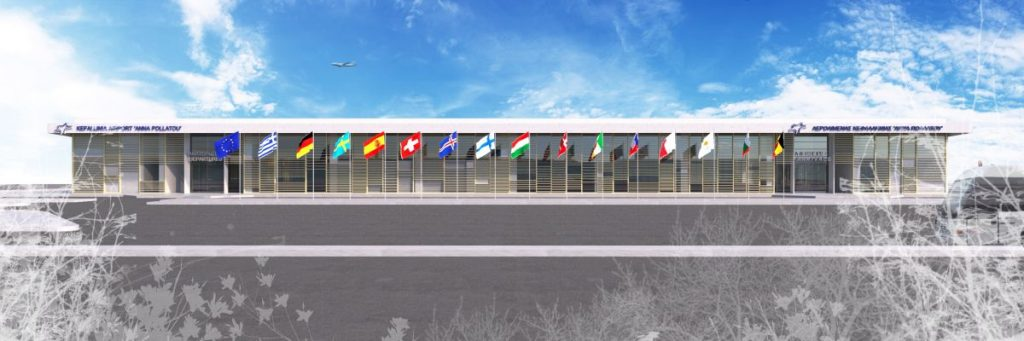 "Rendering of the new airport terminal that will be constructed at Kefalonia ""Anna Pollatou"" Airport."