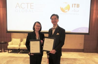 Katrina Leung, executive director of Messe Berlin (Singapore) and Benson Tang, regional director Asia of the Association of Corporate Travel Executives (ACTE).