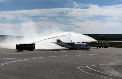 Sky Express aircraft receiving a water salute by Kos Airport.