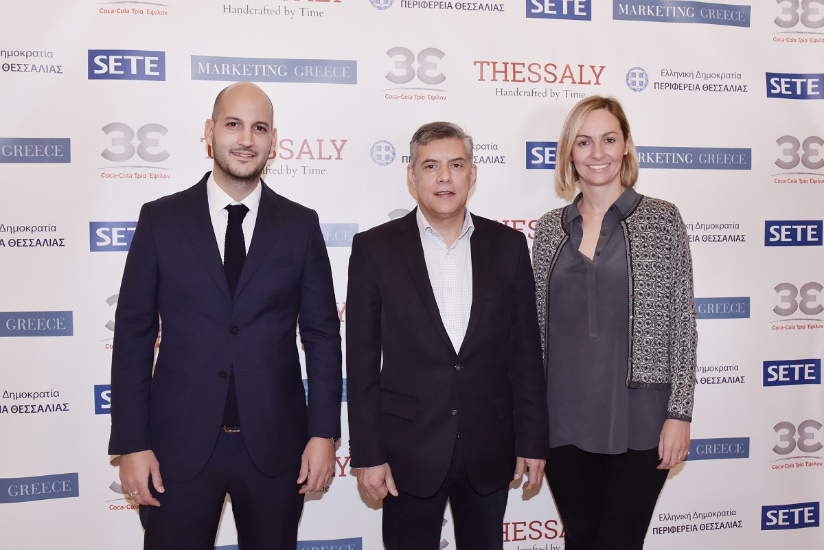 Coca-Cola HBC Community and CSR Manager Alexandros Papadakis; Thessaly Governor Konstantinos Agorastos; Marketing Greece CEO Ioanna Dretta.