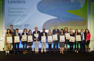 The 2017 WTM Responsible Tourism Awards: Manisha Pande, Village Ways; Simon Press, WTM; Dinh Ngoc Duc, Vietnam National Administration of Tourism; Lucienne Damm, TUI Cruises; Brenda du Toit, Marine Dynamics; Richard Vigne, Ol Pejeta Conservancy; Kadakampally Surendran, Kerala; Andrea Nicholas, Green Tourism; Christopher Warren, Crystal Creek Meadows; Petra Stušek, Ljubljana Tourism; Tish Stewart-Inglis, Transfrontier Parks Destinations; Sue Ricketts, Chobe Game Lodge; Fiona Malan, Grootbos; Harrold Goodwin, WTM Advisor; and Tanya Beckett, Presenter.