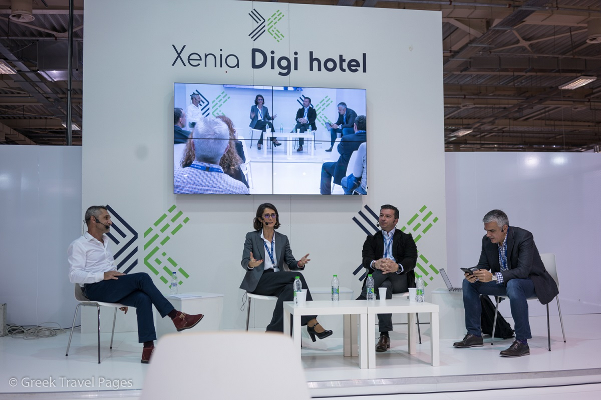 """""""Digi Hotel"""" panel moderator Nikos Charalambopoulos, vice president development at HotelBrain;Greek Travel Pages (GTP) CEO Maria Theofanopoulou;Giannis Tsakalos, marketing director of Electra Hotels & Resorts;Stelios Sofianos, partner at marketing and communications company My Spectrum."""