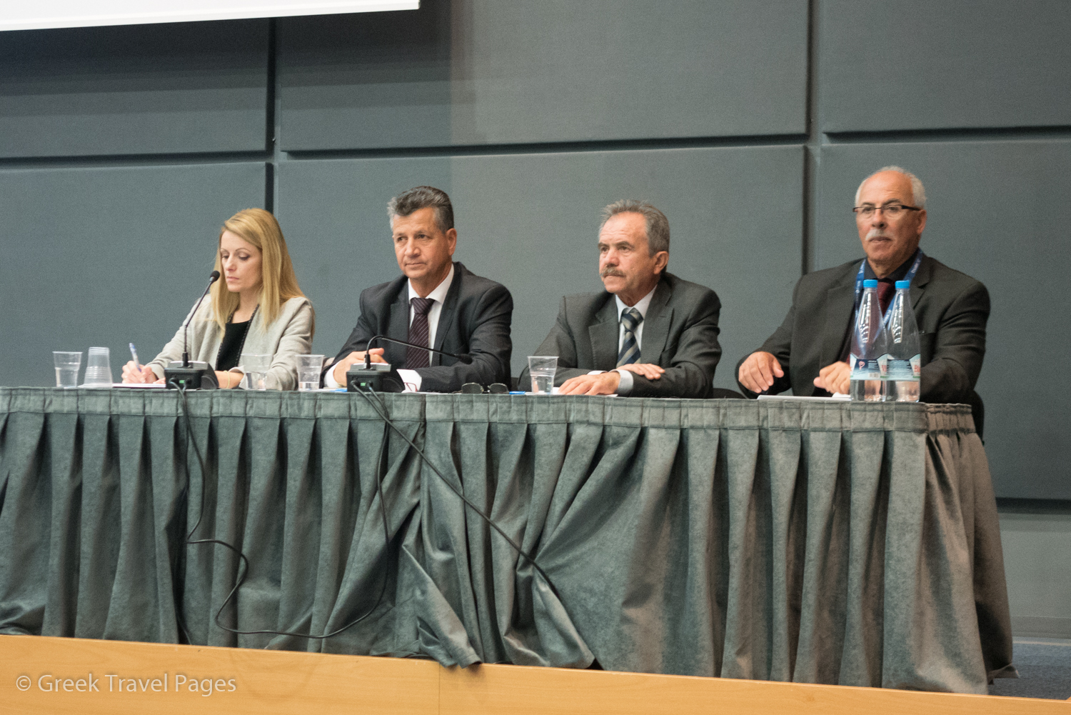 Greek Confederation of Tourist Accommodation Enterprises (SETKE) President Panagiotis Tokouzis (second from left) during the confederation's second congress at the Xenia 2017 hospitality show.