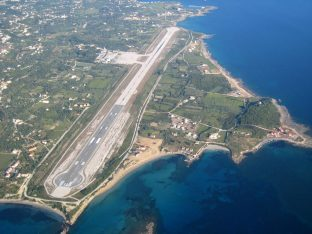 Aerial view of Kefalonia airport.