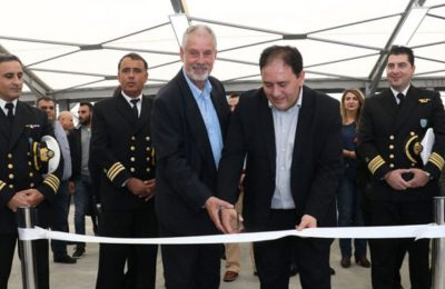 Secretary-General for Ports, Port Policy and Maritime Investment Christos Lambridis cut the ribbon of Heraklion port's new cruise terminal.
