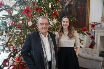 Lampsa Hellenic Hotels CEO Tasos Homenidis and Senior Executive Director Chloe Laskaridis during a recent Christmas event at the King George Hotel in Athens.