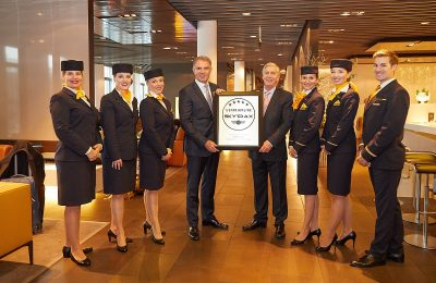 Carsten Spohr, chairman of the Board of Deutsche Lufthansa AG received the five-star certification from Skytrax CEO Edward Plaisted.