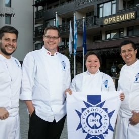 Chef Edmundo Canales, Le Cordon Bleu Mexico; chef Gregor Funcke and chef Nicole Bevilacqua, Le Cordon Bleu Peru; chef Aldo Morales, Le Cordon Bleu Mexico.