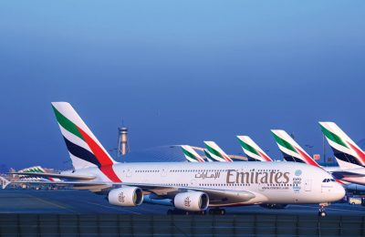Emirates A380 Fleet at Dubai International.