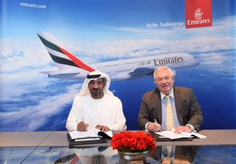 Sheikh Ahmed bin Saeed Al Maktoum, Chairman and Chief Executive, Emirates Airline and Group signed the agreement today with John Leahy, Chief Operating Officer Customers, Airbus Commercial Aircraft at Emirates' Headquarters in Dubai.