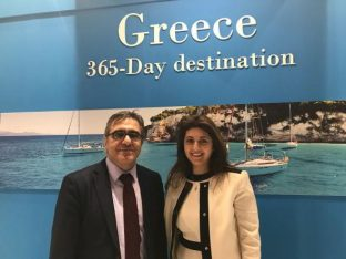 GNTO secretary general Konstantinos Tsegas and director of the office of GNTO in Amsterdam, Eleni Skraveli.