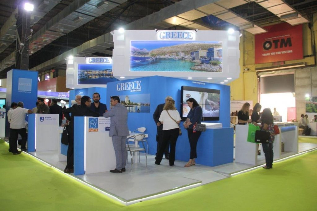 The Greek stand at the OTM 2018 travel show in Mumbai, India.
