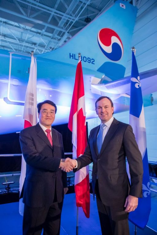 Korean Air Chief Technology Officer Soo-Keun Lee and Bombardier Commercial Aircraft President Fred Cromer during the delivery of a first CS300 aircraft to Korean Air Lines, the Asian launch customer for the C Series aircraft family, in December 2017.