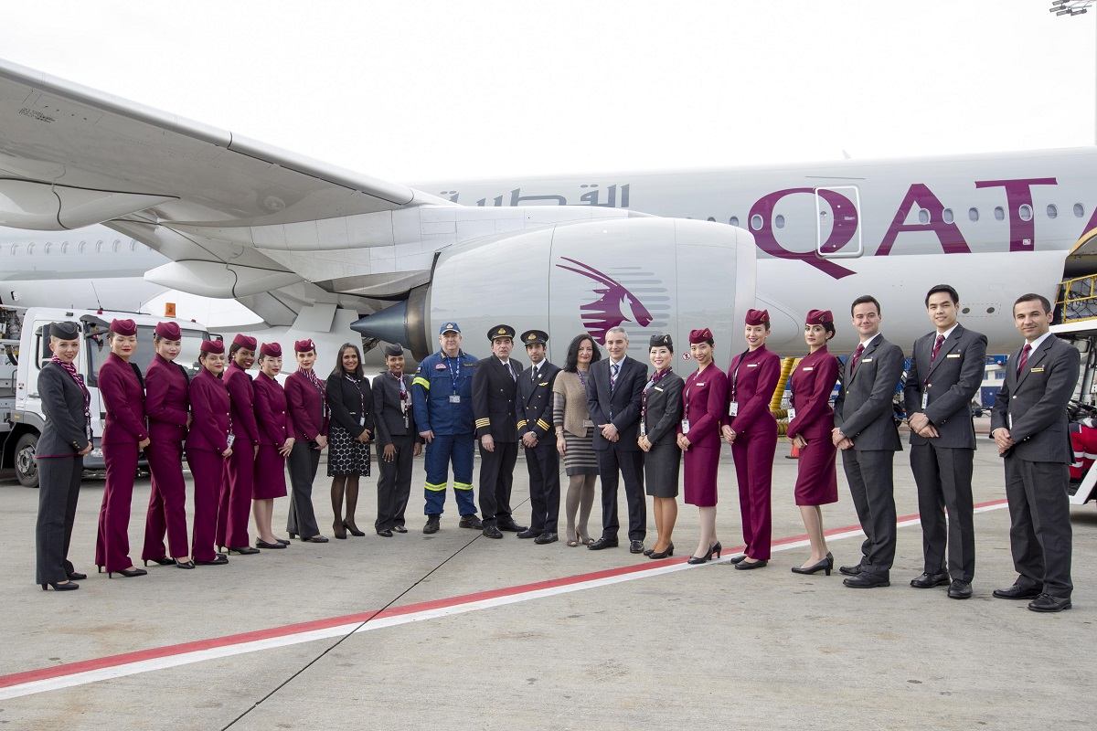 Qatar Airways' A350 at Athens International Airport.