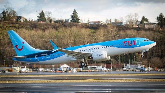 TUI's first 737 MAX 8 departing from Seattle. Photo source: Boeing