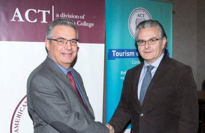 ACT provost and vice president for academic affairs Stamos Karamouzis and TCB president Ioannis Aslanis.