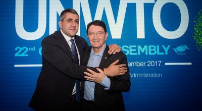 Newly appointed Secretary General of the World Tourism Organization (UNWTO) Zurab Pololikashvili and Former UNWTO Secretary General Taleb Rifai.