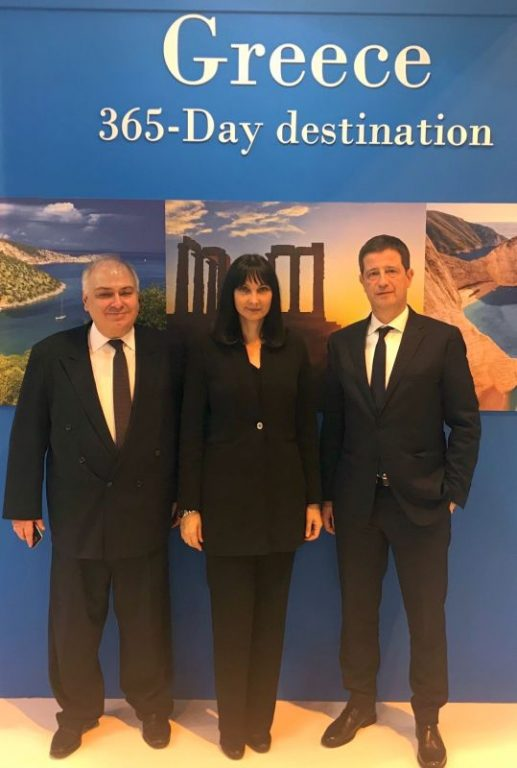 Greek Ambassador to Spain Christodoulos Lazaris, Greek Tourism minister Elena Kountoura and Secretary General for Tourism Policy and Development Georgios Tziallas.