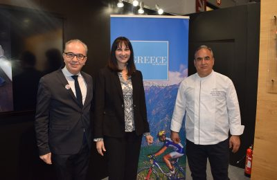 Michalis Roussakis, assistant general manager, Creta Maris Beach Resort; Elena Kountoura, Greek Minister of Tourism; Dimitris Makrakis,  executive chef, Creta Maris Beach Resort.