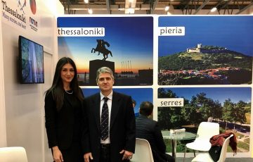 Thessaloniki Hotels Association's president, Andreas Mandrinos and marketing manager, Chrissa Saravelou.