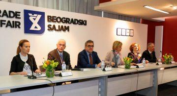 GNTO Secretary General Konstantinos Tsegas (center) at the 40th Belgrade tourism fair press conference.