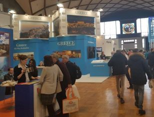The Greek stand at the Holiday World 2018 tourism trade fair at the Prague Exhibition Grounds.